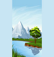 vertical landscape with river vector image