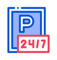 24 hour parking icon outline vector image vector image
