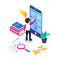 3d isometric learning languages concept person vector image