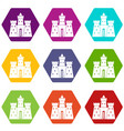ancient castle palace icon set color hexahedron vector image vector image