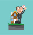 businessman show bidding offer of the property vector image vector image