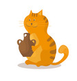 cat eats sour cream from a ceramic bowl on white vector image vector image