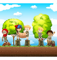 Children standing on the log vector image