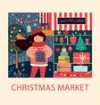 christmas market vector image vector image