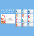 colorful year 2018 floral calendar vector image