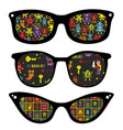 creative set of retro sunglasses with pattern vector image vector image