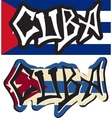Cuba word graffiti different style vector image vector image