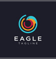 eagle and network wireless signal wave logo vector image