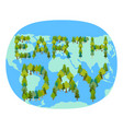 earth day planet and forest trees and typography vector image