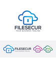 file security logo design vector image vector image