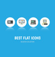 flat icon computer set of computer display vector image vector image