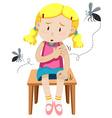 Girl got bitten by mosquitos vector image