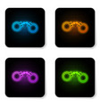 glowing neon handcuffs icon isolated on white vector image vector image