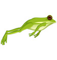 green tree frog jumping isolated on white