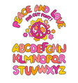 hand drawn peace and love doodle font alphabet vector image