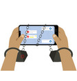 hands in handcuffs are holding a smartphone vector image vector image