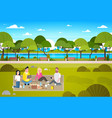 happy people having picnic in park group of young vector image vector image