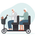 happy senior family driving electric tandem vector image