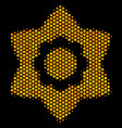 hexagon halftone flower icon vector image vector image
