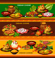 indian cuisine restaurant banner with asian menu vector image vector image