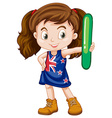 Little girl holding letter l vector image vector image