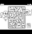 maze with girl and cat for coloring vector image vector image