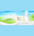 milk glass splash banner ad background vector image