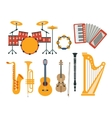 Music Instruments Realistic Drawings Collection vector image vector image