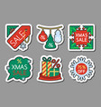 new year christmas season sale icon sticker set vector image
