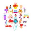 nuptial icons set cartoon style vector image vector image