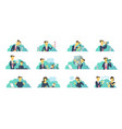 office set of situations everyday tasks at work vector image vector image