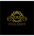 ou letter initial luxurious brand logo template vector image vector image