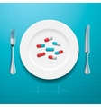 Pills on the plate vector image