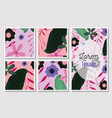 postcards with flowers leaves floral wedding cards vector image
