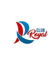 r letter icon for royal club vector image