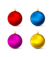 realistic multicolored christmas balls set vector image