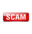 scam red square 3d realistic isolated web button vector image vector image