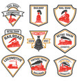 set emblems templates with retro train vector image vector image