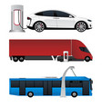 set of electric vehicles vector image