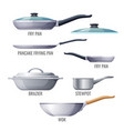 set of metallic pans and kitchen utensils sketchy vector image vector image