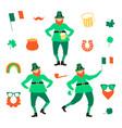 st patricks day set with flat leprechauns vector image