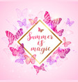 summer background with pink and violet butterflies vector image vector image