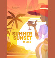 summer sunset poster with silhouette woman vector image vector image