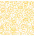 sunflower seamless pattern line yellow vector image vector image
