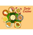 Swiss cuisine traditional dishes flat icon vector image vector image