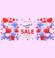 valentine day sale horizontal banner with white vector image vector image