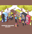 vending machines isometric composition vector image vector image