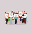 women protesters people holding signs banner vector image