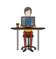 young man working on computer at office desk vector image vector image