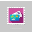 Card with palm flat stamp long shadow vector image